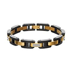 Men's Two Tone Stainless Steel 1/4 Carat T.W. Diamond Bracelet