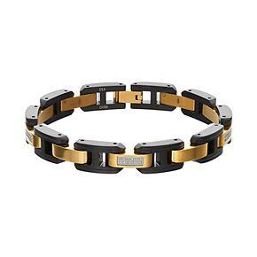 Men's Two Tone Stainless Steel 1/4 Carat T.W. Diamond Bracelet