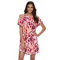Women's Suite 7 Floral Cold-Shoulder Trapeze Dress