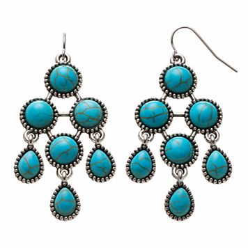 Simulated Turquoise Cabochon Kite Drop Earrings