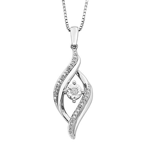 Sterling Silver Diamond Accent Bypass Pendant Necklace