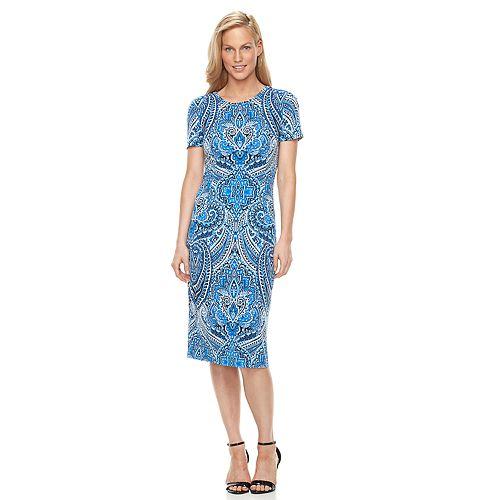 Women's Suite 7 Scroll Midi Sheath Dress