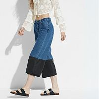 k/lab Two Tone Wide-Leg Jean Capris