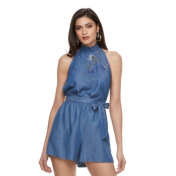 Women's Jennifer Lopez Embroidered Chambray Romper