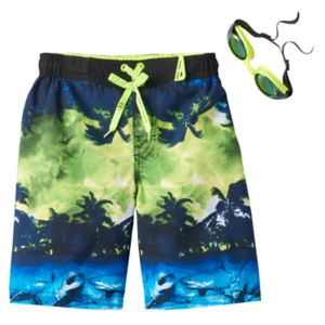 Boys 4-7 ZeroXposur Shark Island Swim Trunks with Goggles