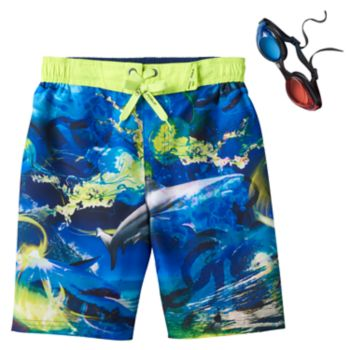 Boys 4-7 ZeroXposur Shark Print Swim Trunks with 3D Goggles