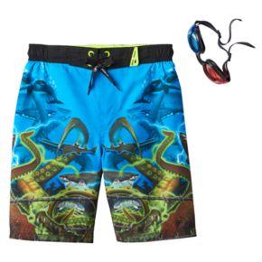 Boys 4-7 ZeroXposur Sea Creature Swim Trunks with 3D Goggles