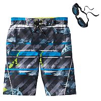 Boys 4-7 ZeroXposur Sharks & Stripes Swim Trunks with Goggles