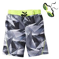 Boys 4-7 ZeroXposur Geometric Swim Trunks with Goggles