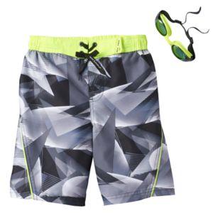 Boys 4-7 ZeroXposur Geometric Swim Trunks with Goggles
