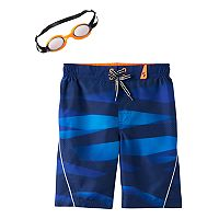 Boys 4-7 ZeroXposur Abstract Striped Swim Trunks with Goggles