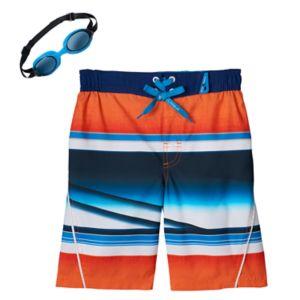 Boys 4-7 ZeroXposur Whiplash Stripes Swim Trunks with Goggles