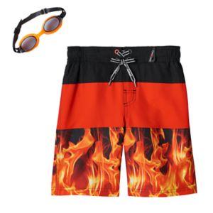 Boys 4-7 ZeroXposur Flame Swim Trunks with Goggles