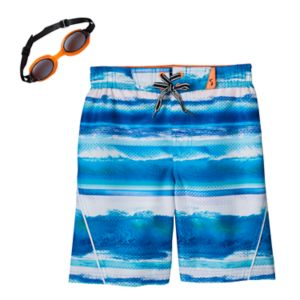 Boys 4-7 ZeroXposur Ocean Stripes Swim Trunks with Goggles