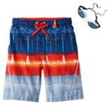 Boys 4-7 ZeroXposur Tie-Dye Swim Trunks with Goggles