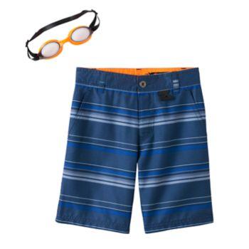 Boys 4-7 ZeroXposur Blue Striped Swim Trunks with Goggles