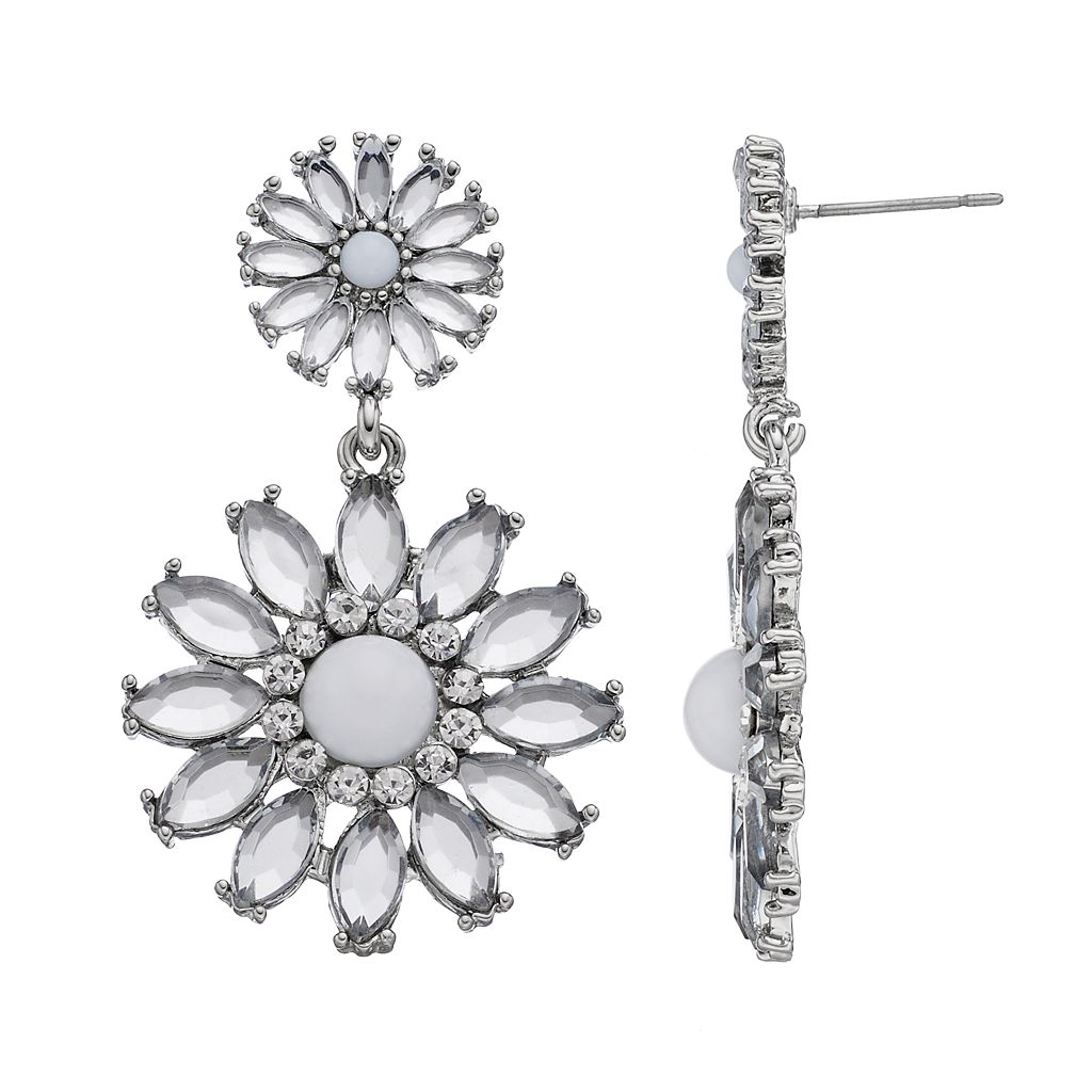 Simulated Crystal Double Floral Drop Earrings