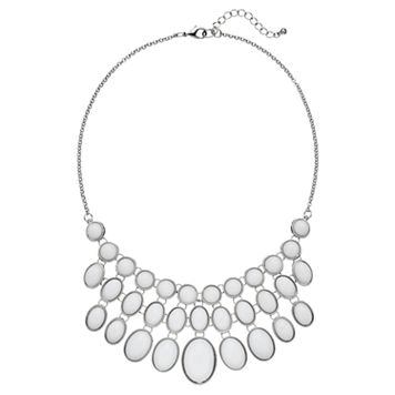 White Circle & Oval Cabochon Statement Necklace