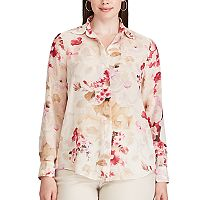 Plus Size Chaps Pleated Back Floral Shirt