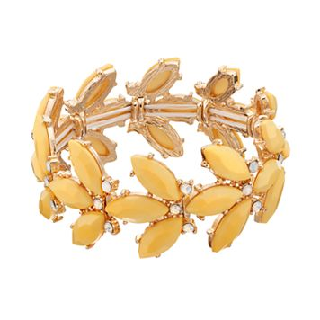 Yellow Marquise Stone Cluster Stretch Bracelet