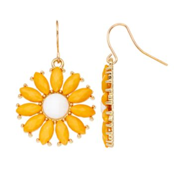 Yellow Daisy Drop Earrings