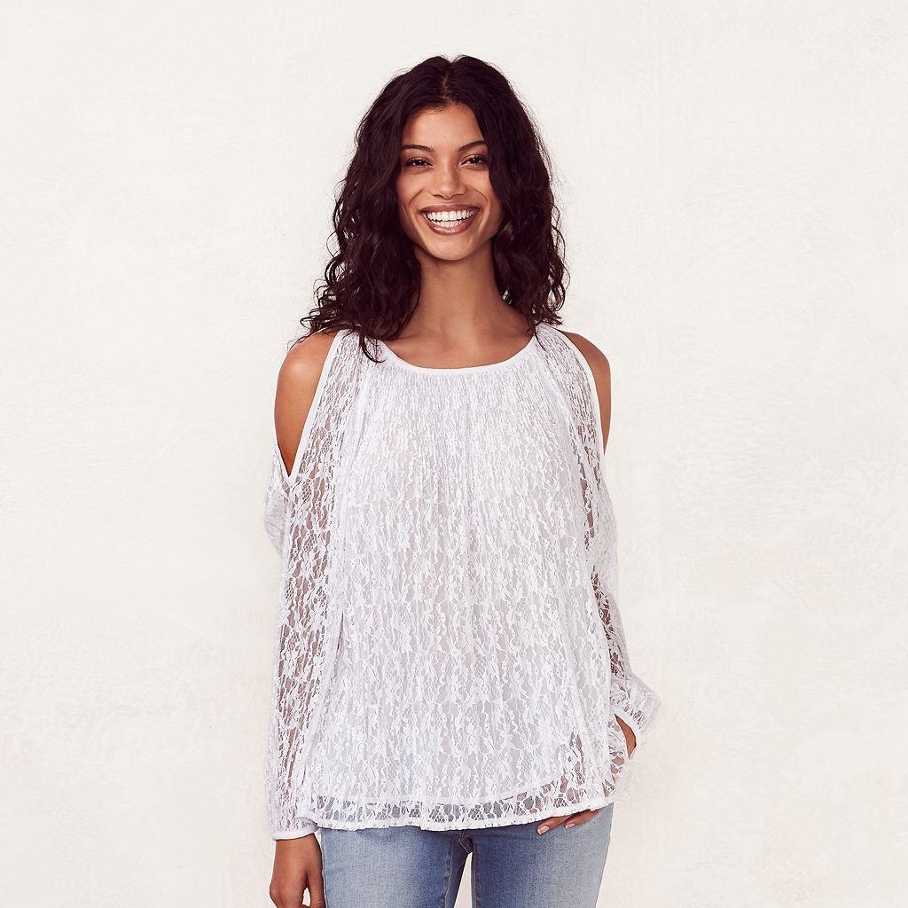 Women's LC Lauren Conrad Lace Cold-Shoulder Top