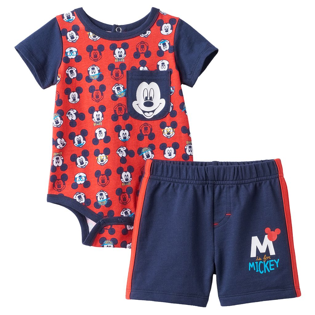 Disney's Mickey Mouse Baby Boy Bodysuit & Shorts Set
