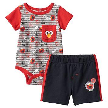 Baby Boy Sesame Street Elmo Bodysuit & Shorts Set