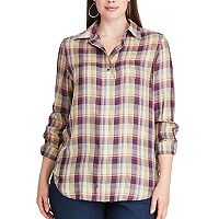 Plus Size Chaps Plaid Twill Long Sleeve Shirt