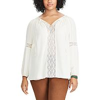 Plus Size Chaps Lace-Trim Georgette Peasant Top