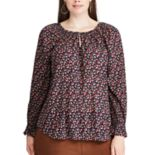 Plus Size Chaps Floral Long Sleeve Top
