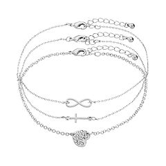 Mudd® Heart, Cross & Infinity Anklet Set