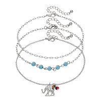 Mudd® Elephant & Beaded Anklet Set