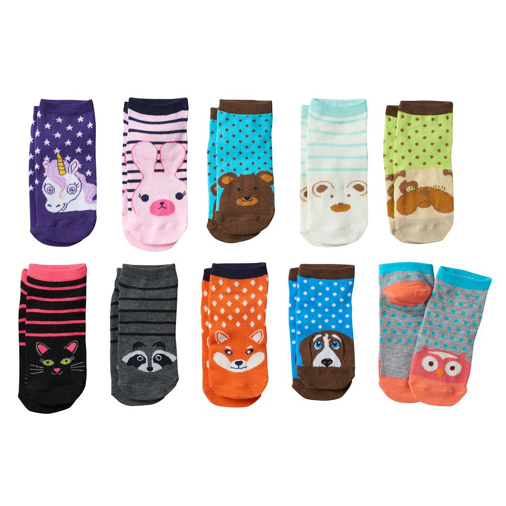 Girls 4-16 Pink Cookie 10-pk. Print & Pattern Low-Cut Socks