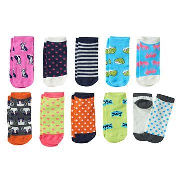 Girls 4-16 Pink Cookie 10-pk. Critter Low-Cut Socks