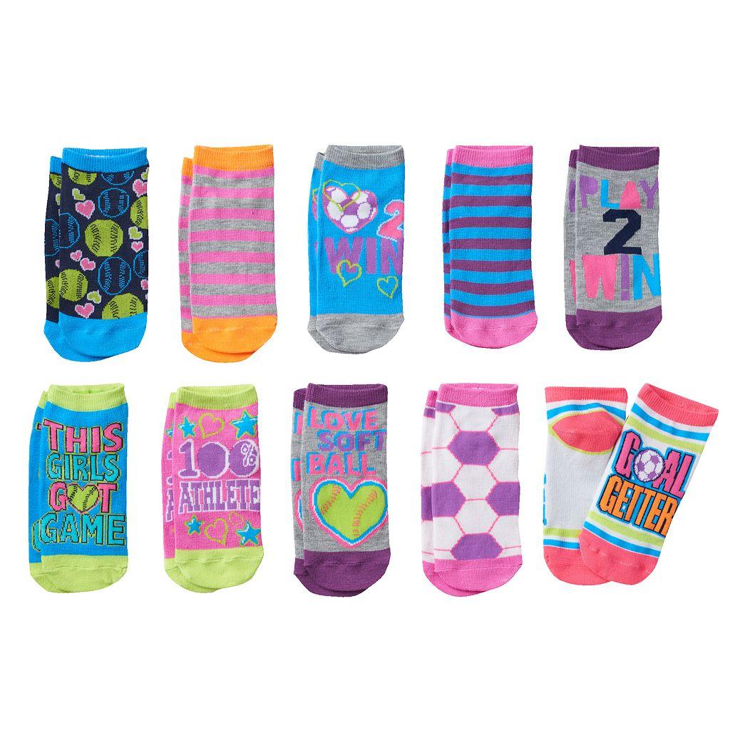 Girls 4-16 Pink Cookie 10-pk. Sports Low-Cut Socks