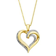 Gold Tone Sterling Silver 1/4 Carat T.W. Diamond Heart Pendant