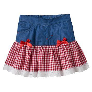 Baby Girl Nannette Gingham Drop-Waist Chambray Skirt