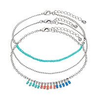 Mudd® Seed Bead & Beaded Cluster Anklet Set