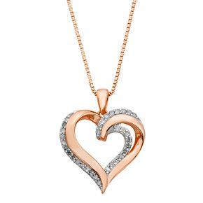 18k Rose Gold Over Silver 1/4 Carat T.W. Diamond Heart Pendant