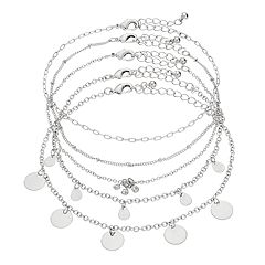 Mudd® Shaky Disc & Simulated Crystal Anklet Set