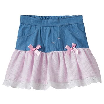 Baby Girl Nannette Seersucker Drop-Waist Chambray Skirt