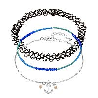 Mudd® Anchor Charm, Beaded & Tattoo Anklet Set