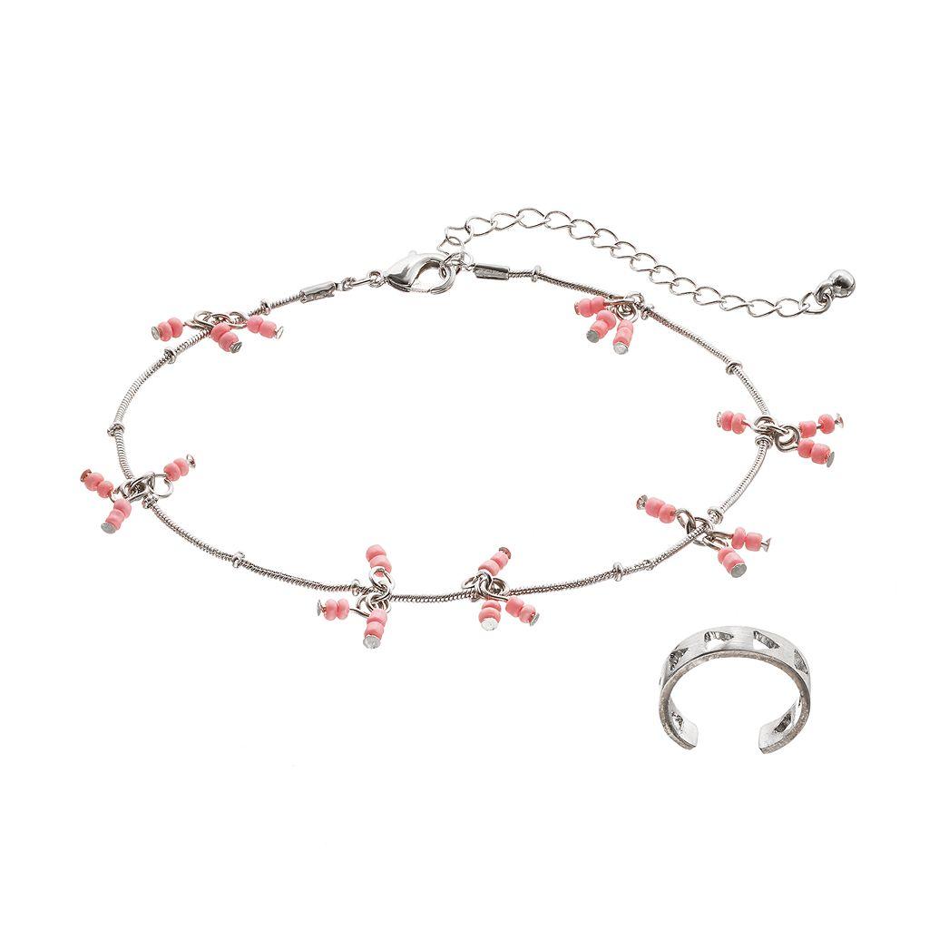 Mudd® Pink Shaky Bead Anklet & Cutout Toe Ring Set