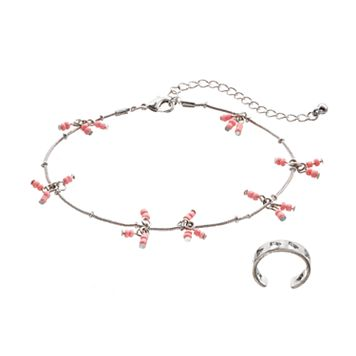 Mudd® Pink Shaky Bead Anklet & Cutout Toe Ring Set