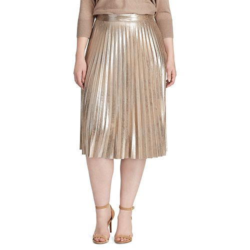 Plus Size Chaps Metallic Faux-Suede Pleated Skirt