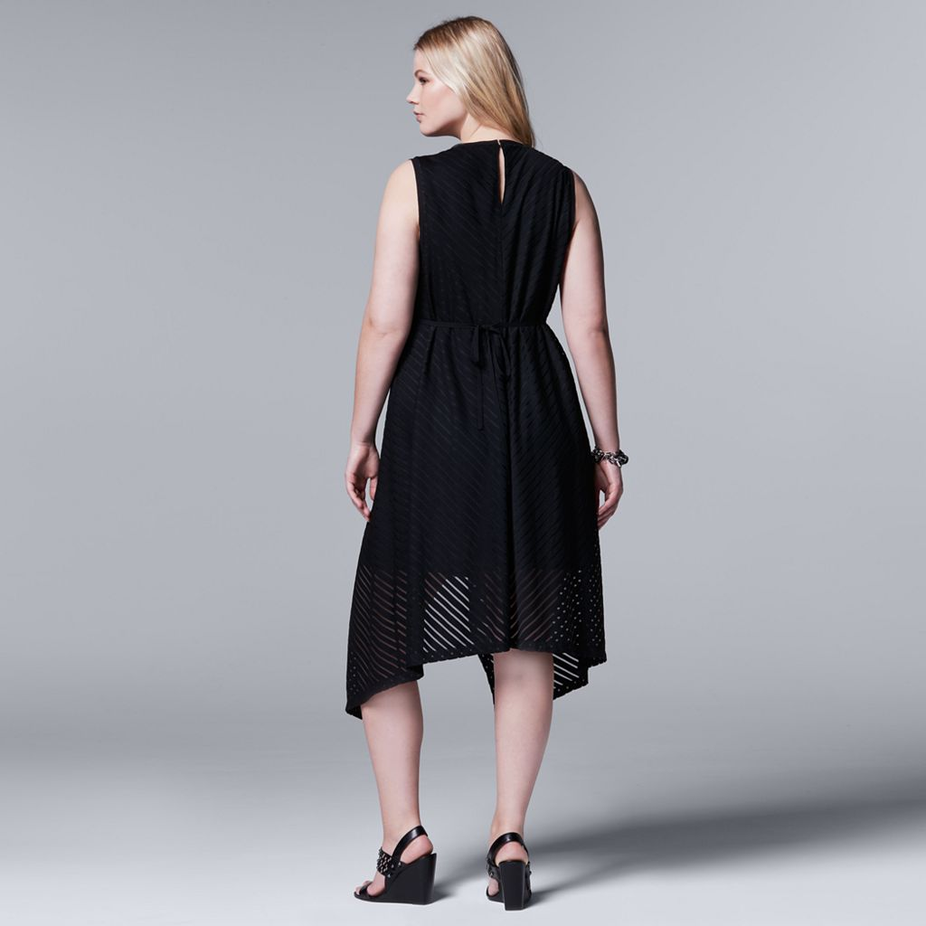 Plus Size Simply Vera Vera Wang Simply Noir Shadow Stripe Fit & Flare Dress