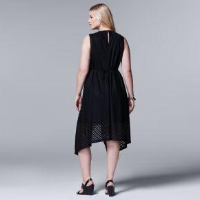 Plus Size Simply Vera Vera Wang Simply Noir Shadow Stripe Fit & Flare Dress