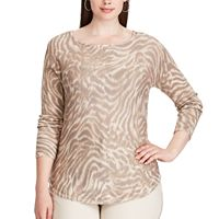 Plus Size Chaps Animal Print Long Sleeve Sweater