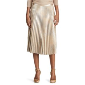 Petite Chaps Metallic Faux-Suede Pleated Midi Skirt